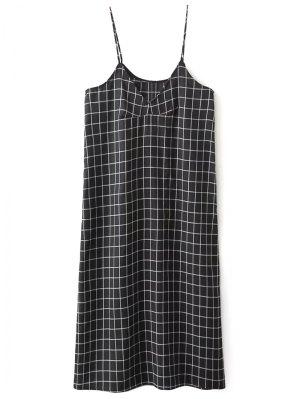 Shift V Neck Slip Plaid Dress - Black