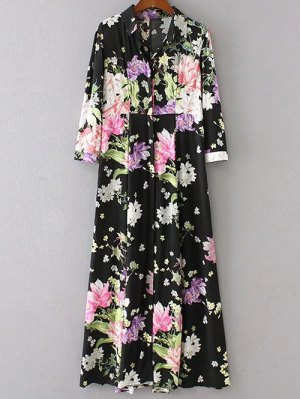 High Waist Floral Print Button Up Dress - Black