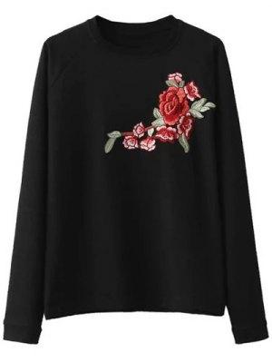 Floral Applique Pullover Sweatshirt - Black