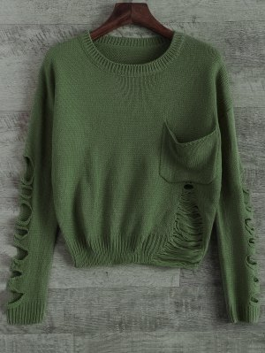 Distressed Patch Pocket Sweater - Green