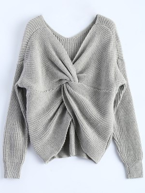 V Neck Twisted Back Sweater - Gray