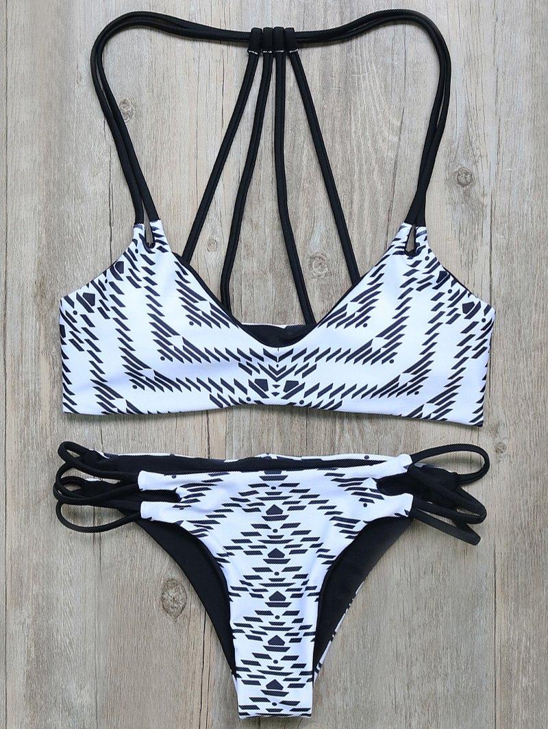 Geometric Print Strappy Bikini