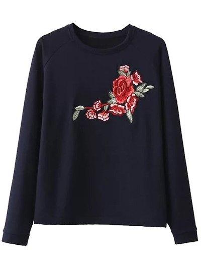 Floral Embroidered Raglan Sweatshirt