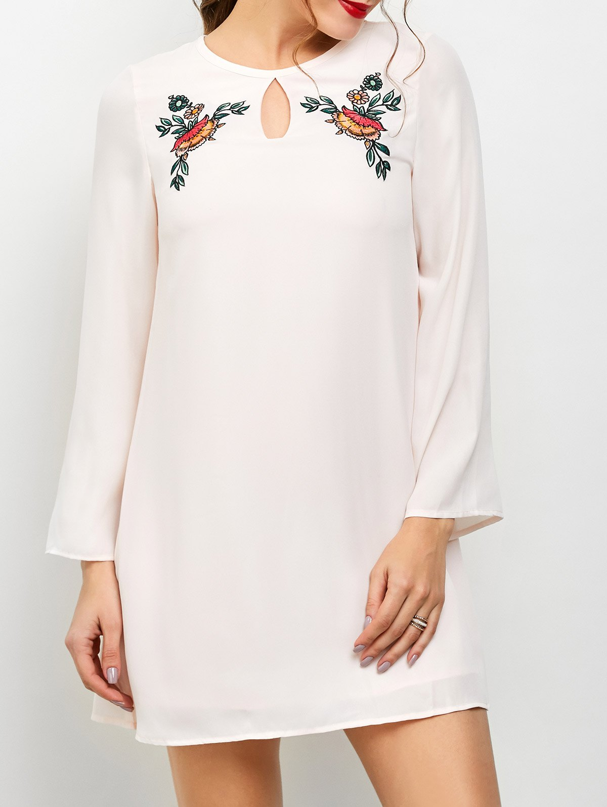 Long Sleeve Floral Embroidered Chiffon Dress