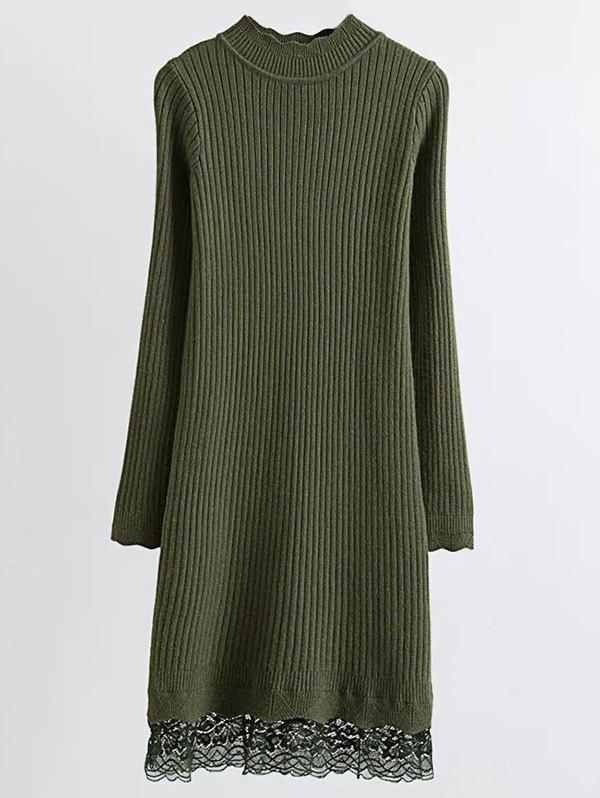 Ribbed Lace Trim Jumper Dress