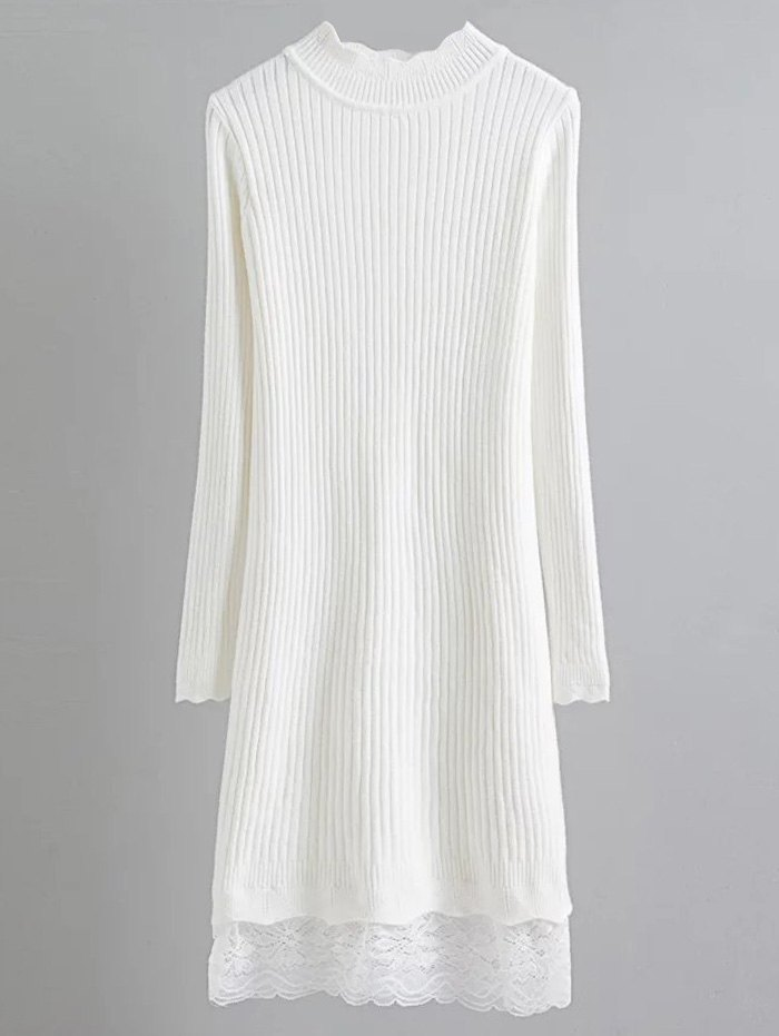 Ribbed Lace Trim Jumper Dress 205904304
