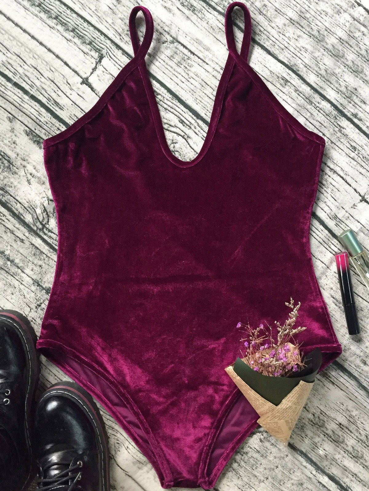 Low Cut Slip Velvet Bodysuit