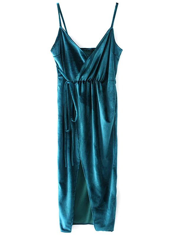 Velvet Slip Wrap Dress
