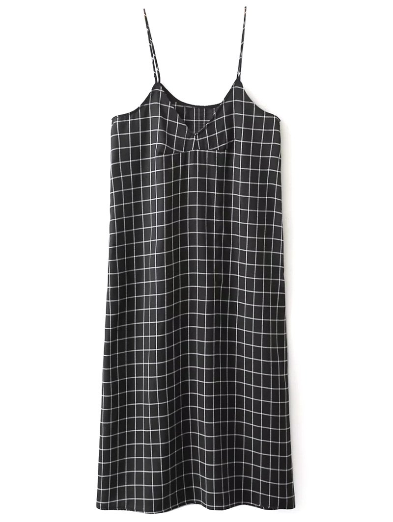 V Neck Slip Shift Plaid Dress