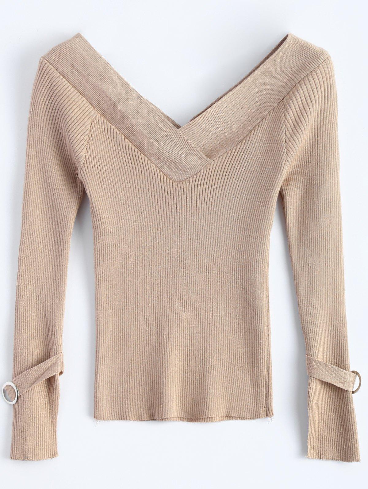 Off Shoulder V Neck Rib Sweater 205972101