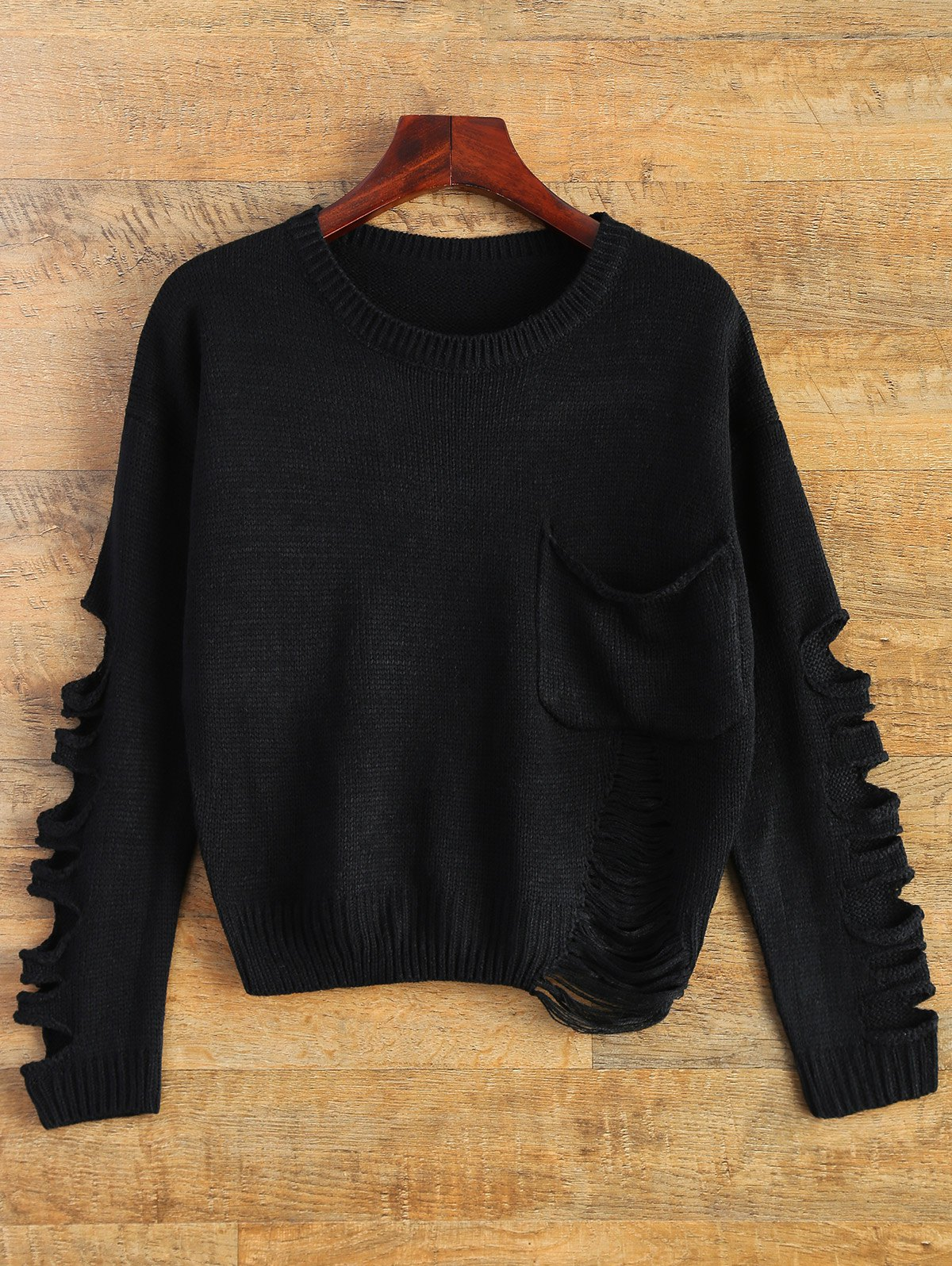 Patch Pocket Ripped Sweater