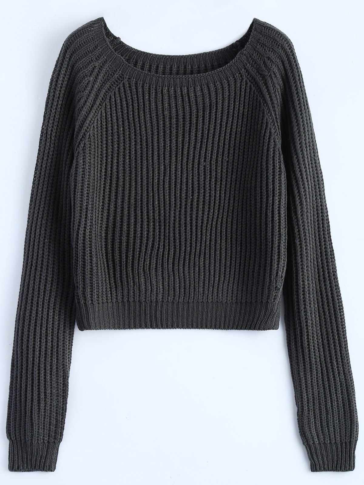 Raglan Sleeve Cropped Basic Sweater