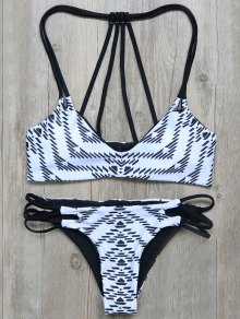 Geometric Print Strappy Back Bikini