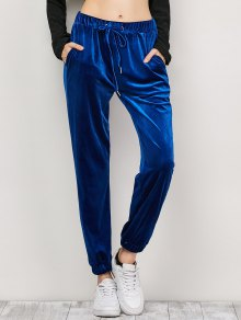 Velour Drawstring Sweatpants - Purplish Blue M