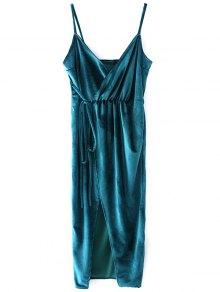 Slip Velvet Wrap Midi Dress - Lake Blue L