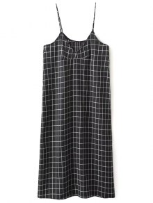 Shift V Neck Slip Plaid Dress