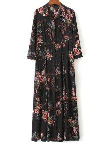 Maxi Floral Print Shirt Dress