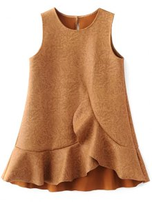 Mini Ruffle Suede Tank A Line Dress