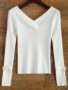 Bare Shoulder V Neck Rib Sweater