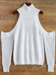 Cutout Open Shoulder Funnel Sweater