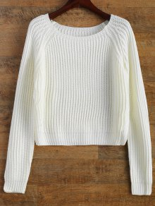 Buy Raglan Sleeve Boxy Basic Sweater - WHITE ONE SIZE
