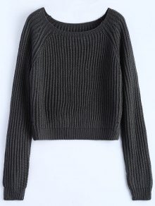 Buy Raglan Sleeve Boxy Basic Sweater - DEEP GRAY ONE SIZE