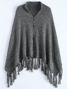 Heathered Tasselled Poncho
