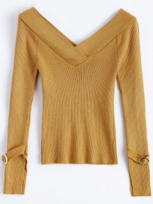 Bare Shoulder V Neck Rib Sweater - Earthy