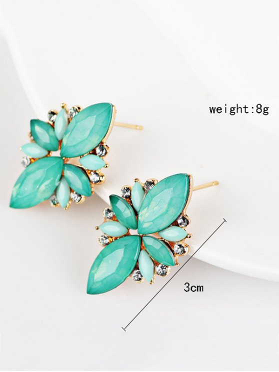 Artificial Gems Embellished Candy Color Earrings - AZURE  Mobile