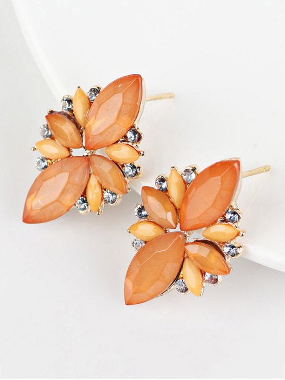 Artificial Gems Embellished Candy Color Earrings - ORANGE  Mobile