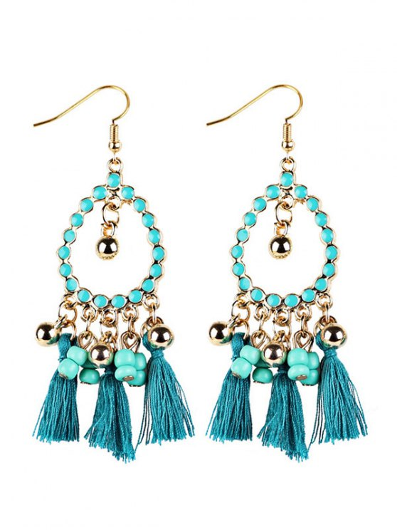 Geometrical Bohemian Tassel Drop Earrings - GREEN  Mobile
