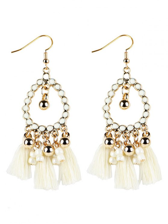 Geometrical Bohemian Tassel Drop Earrings - WHITE  Mobile