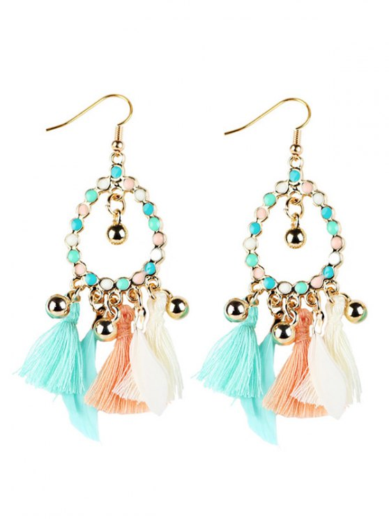 Geometrical Bohemian Tassel Drop Earrings -   Mobile
