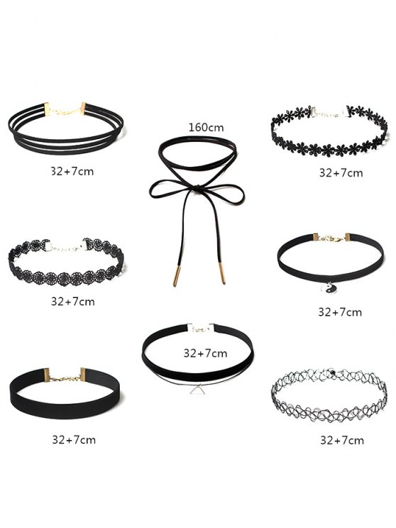 Choker Necklaces Set - BLACK  Mobile