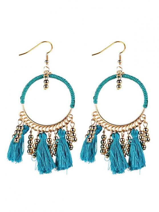Geometrical Bohemian Tassel Circle Drop Earrings - BLUE  Mobile