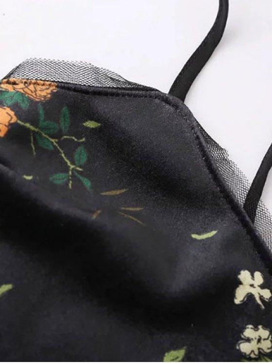 Velvet Cami Top in Floral Print - BLACK S Mobile