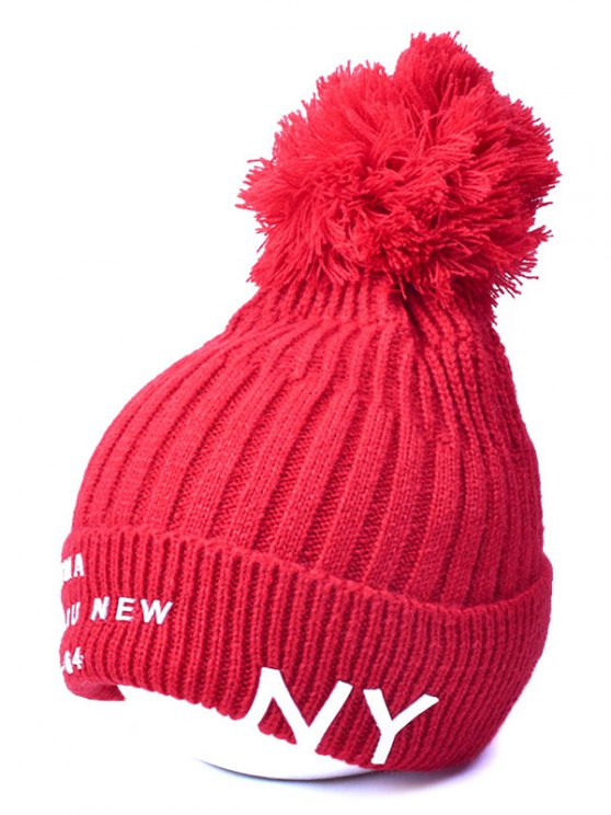 Knit Ribbed Pom Hat with NY Rubber - RED  Mobile