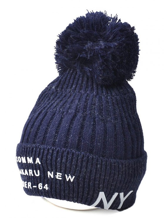 Knit Ribbed Pom Hat with NY Rubber - CADETBLUE  Mobile