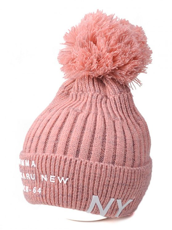 Knit Ribbed Pom Hat with NY Rubber - PINK  Mobile