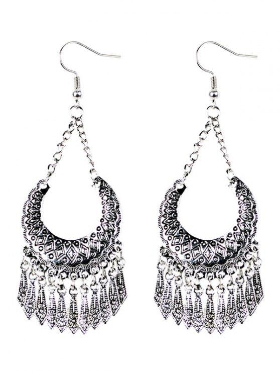 chic Geometrical Tassel Drop Earrings - SILVER