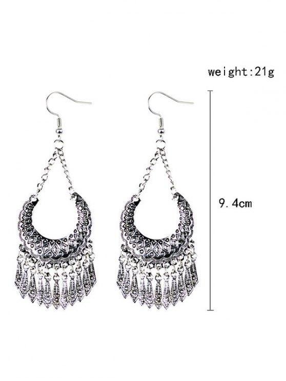 Geometrical Tassel Drop Earrings - SILVER  Mobile