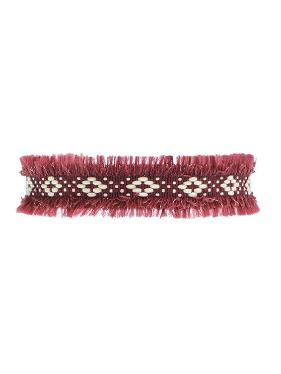 Woven Fringed Choker Necklace -   Mobile