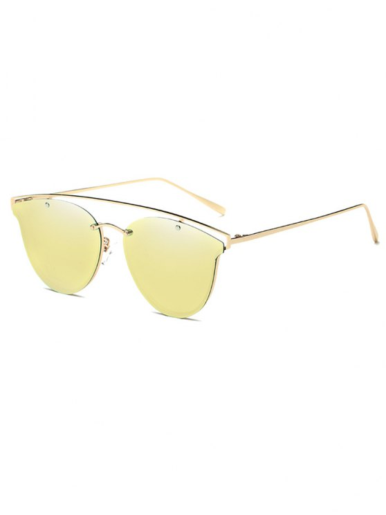 Crossbar Metal Mirrored Butterfly Sunglasses - GOLDEN  Mobile