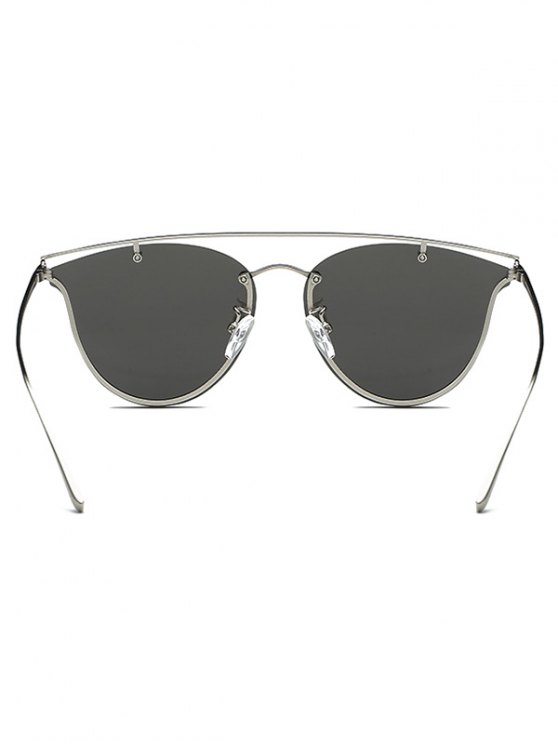 Crossbar Metal Mirrored Butterfly Sunglasses - SILVER  Mobile