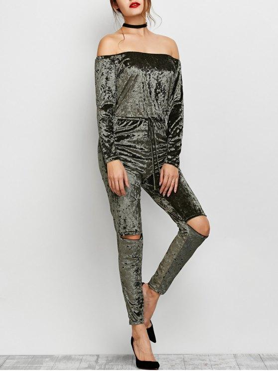affordable Ripped Off Shoulder Velvet Jumpsuit - ARMY GREEN M