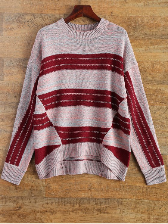 Crew Neck Striped High Low Sweater - MULTICOLOR ONE SIZE Mobile
