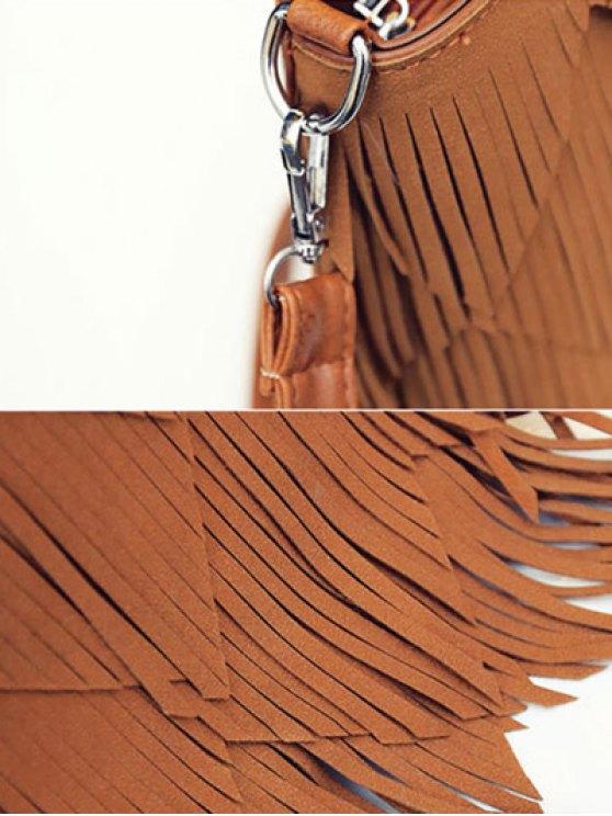 Faux Leather Multi Fringe Handbag - RED  Mobile