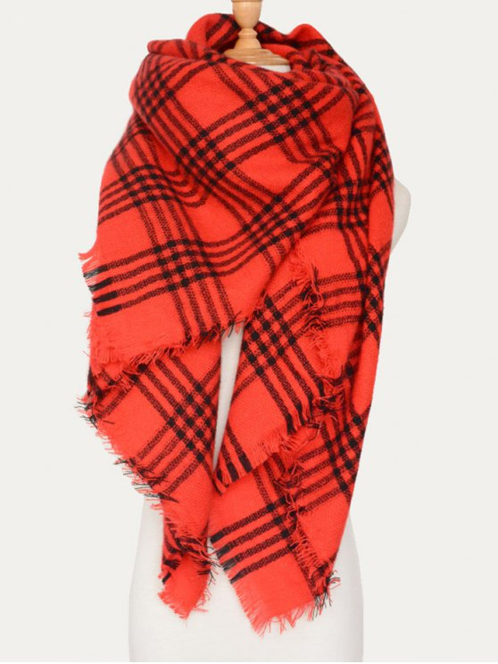 Plaid Pattern Blanket Scarf - RED  Mobile