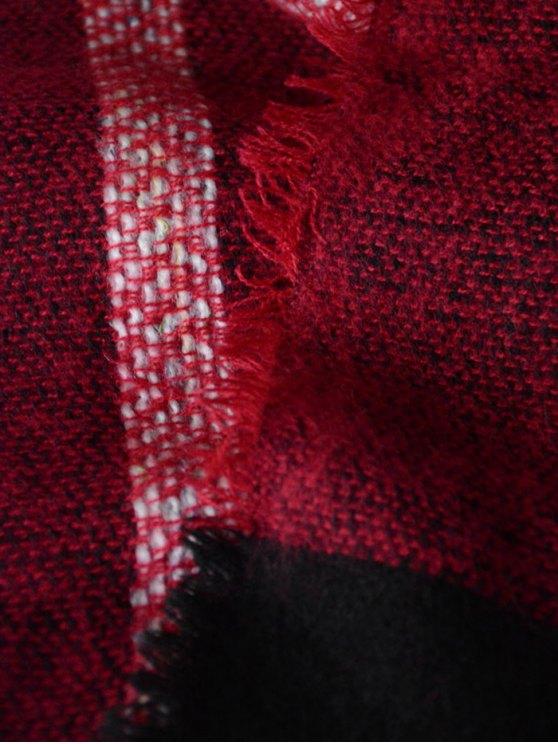 Plaid Pattern Fringed Knit Blanket Scarf -   Mobile