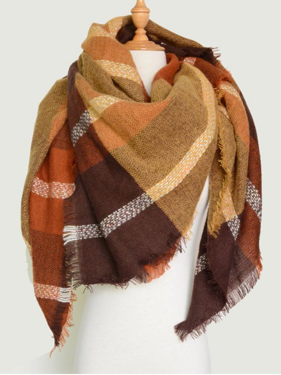 Plaid Pattern Fringed Knit Blanket Scarf -   Mobile